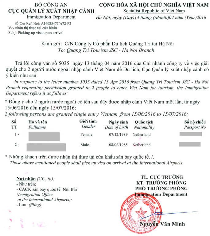 Vietnam visa approval letter for israel